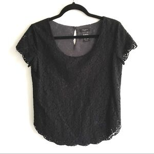 NWOT ARITZIA Talula Lace Short Sleeve Top Black S